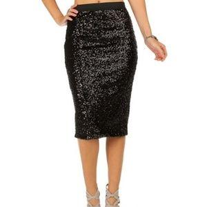 The Limited Black Sequin Knee Length Skirt